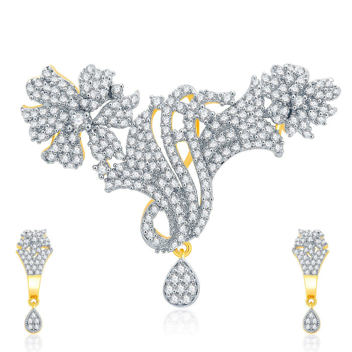 Pissara Intricate Gold And Rhodium Plated CZ Pendant Set For Women
