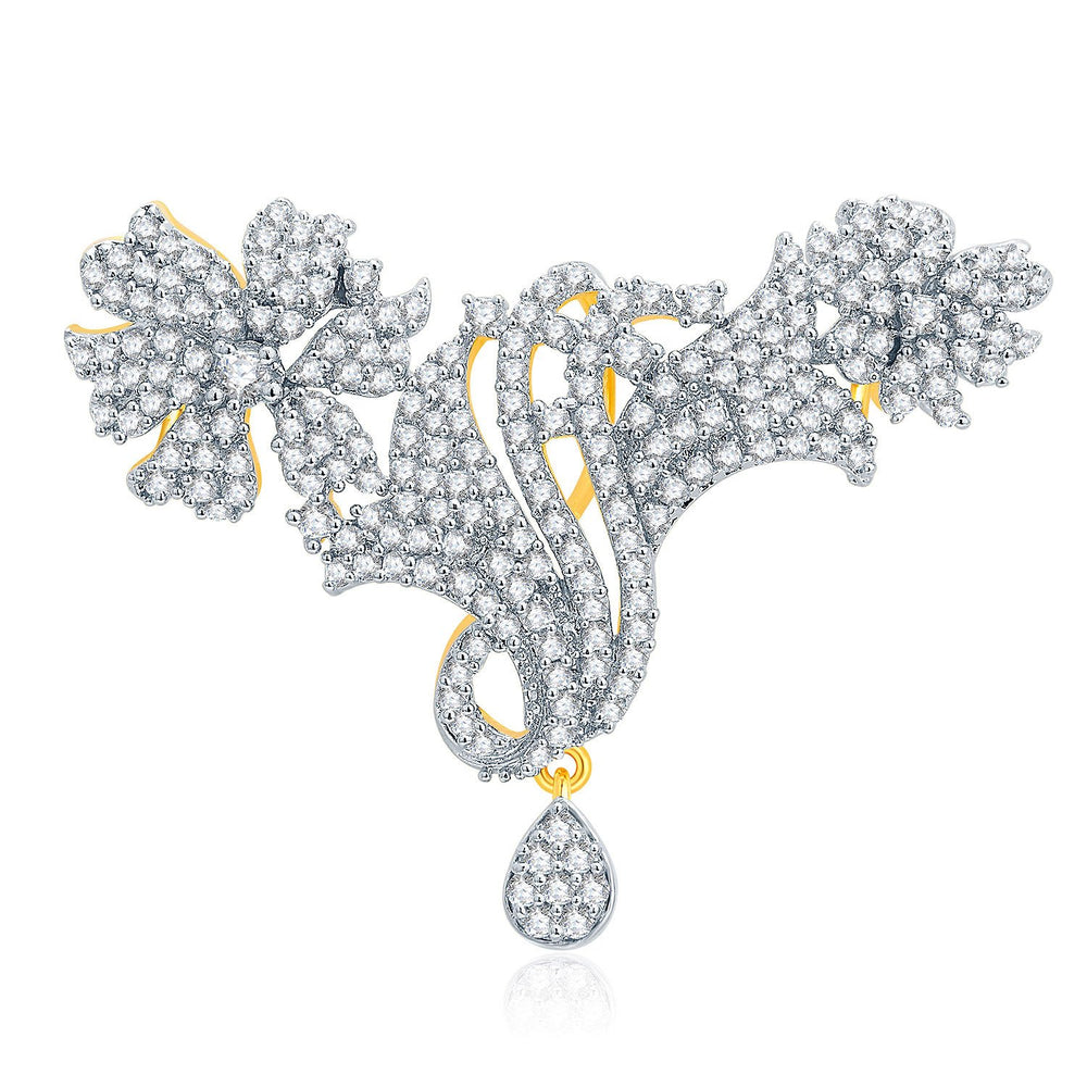 Pissara Intricate Gold And Rhodium Plated CZ Pendant Set For Women-1