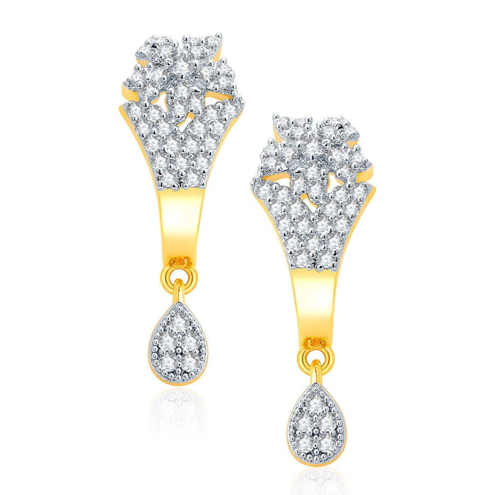 Pissara Intricate Gold And Rhodium Plated CZ Pendant Set For Women-2