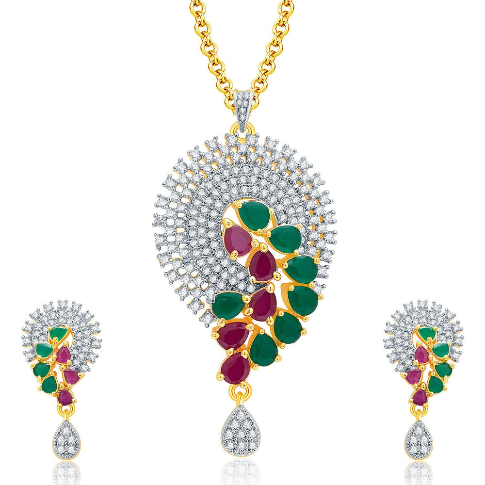 Pissara Etherealgold And Rhodium Plated Ruby CZ Pendant Set For Women