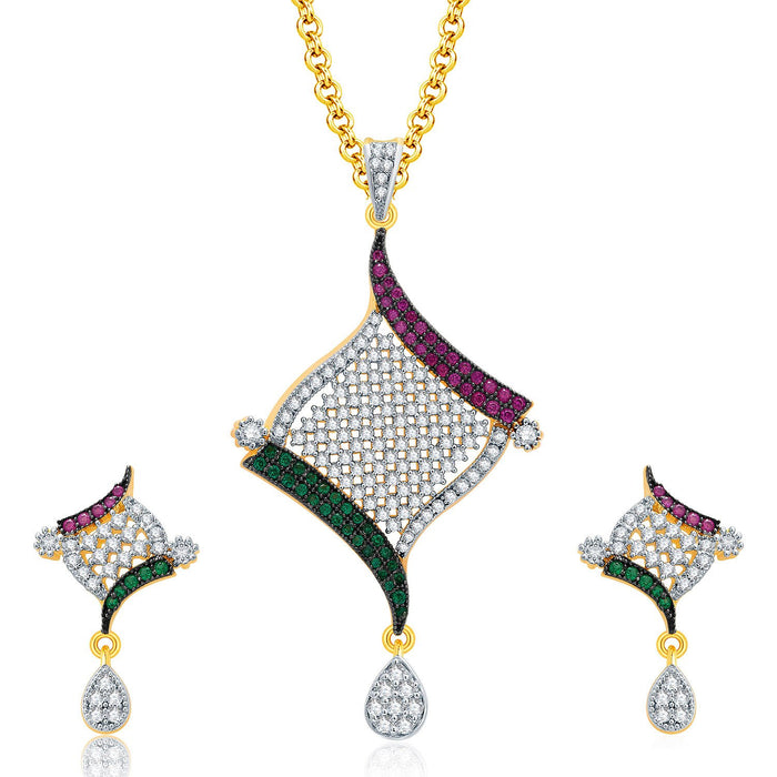 Pissara Versatile Gold And Rhodium Plated CZ Pendant Set For Women