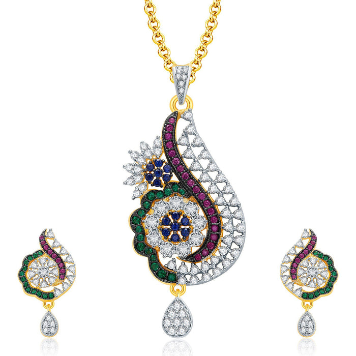 Pissara Exceptional Gold And Rhodium Plated CZ Pendant Set For Women