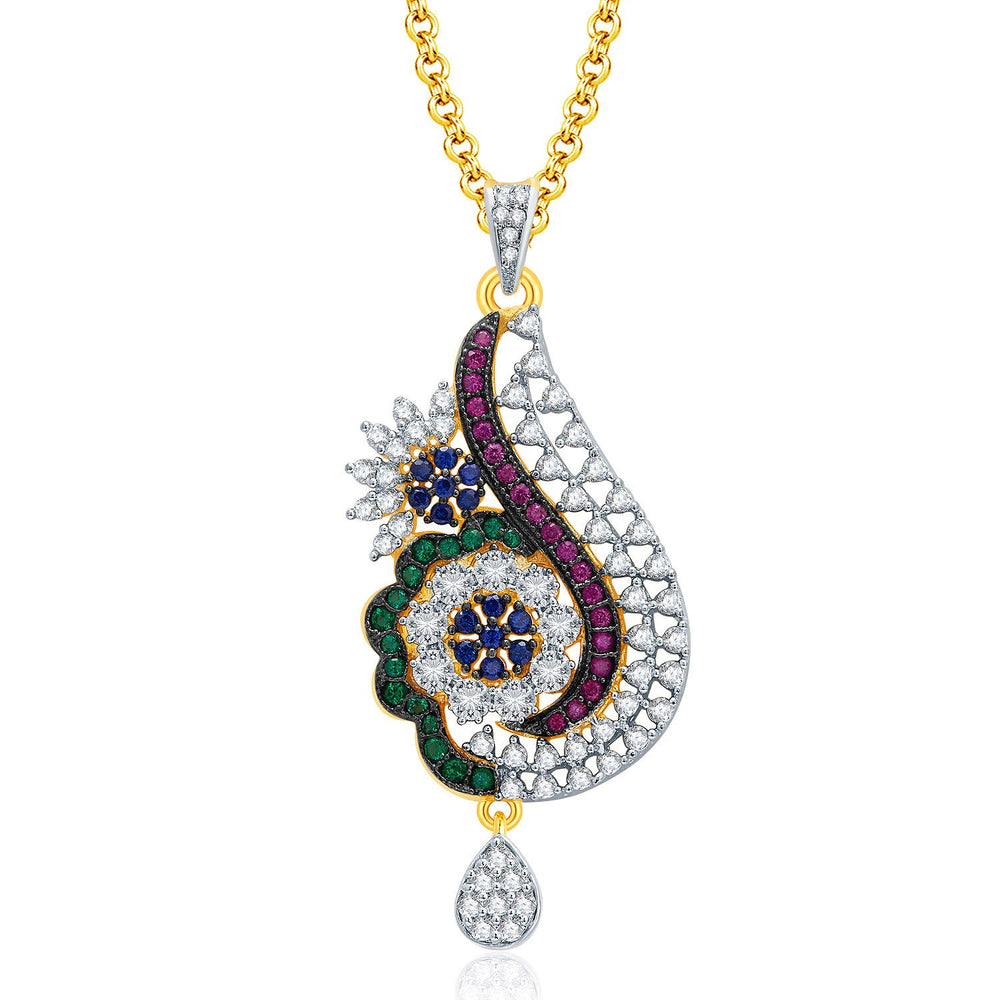 Pissara Exceptional Gold And Rhodium Plated CZ Pendant Set For Women-1