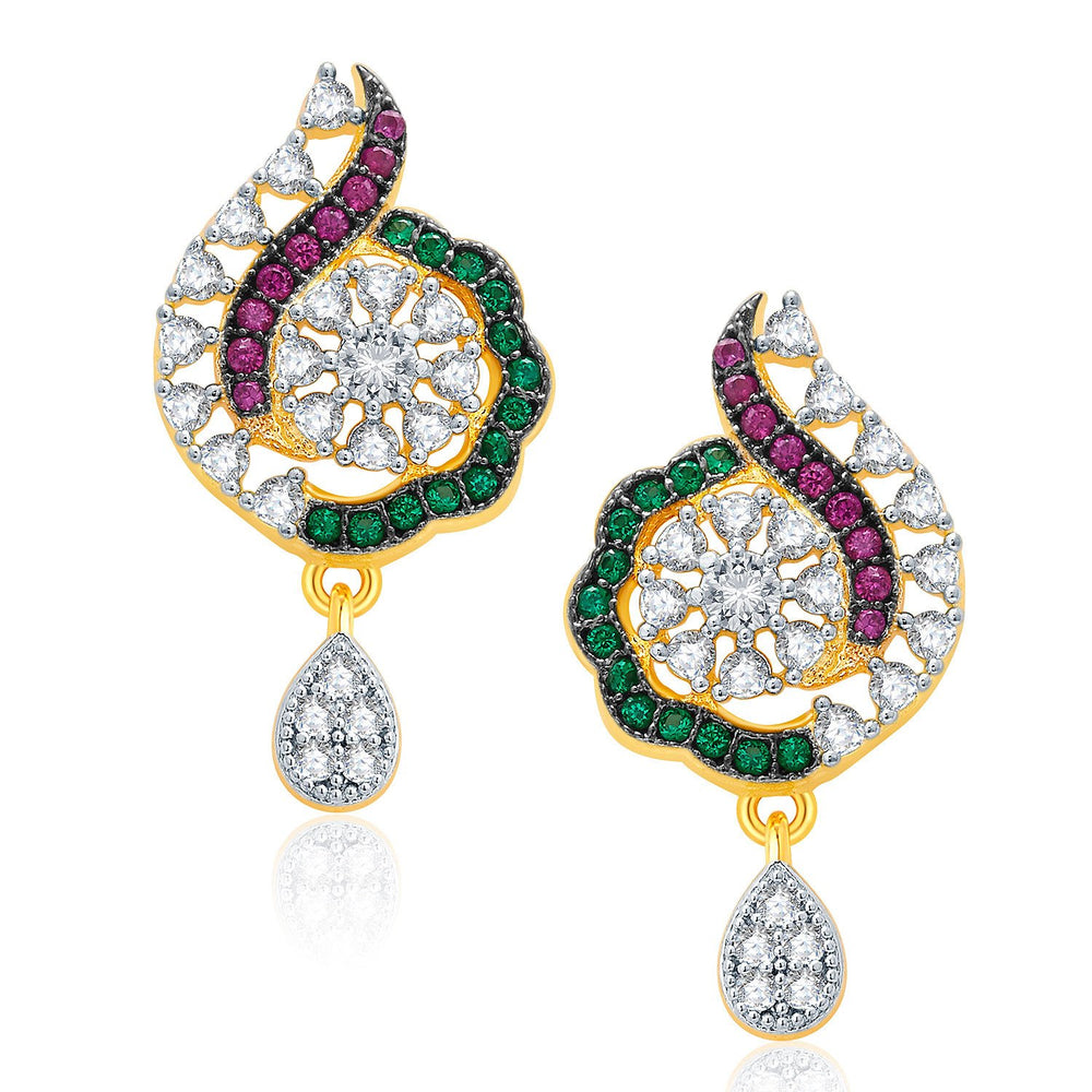Pissara Exceptional Gold And Rhodium Plated CZ Pendant Set For Women-2
