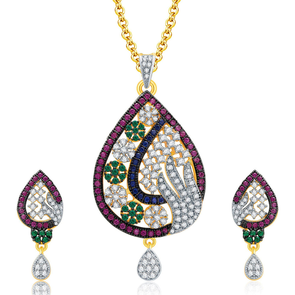 Pissara Mesmerizing Gold And Rhodium Plated CZ Pendant Set For Women