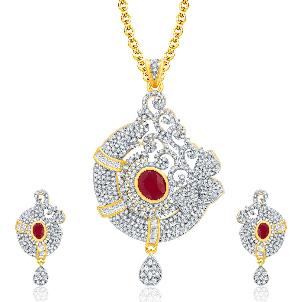 Pissara Whimsical Gold And Rhodium Plated Ruby CZ Pendant Set For Women