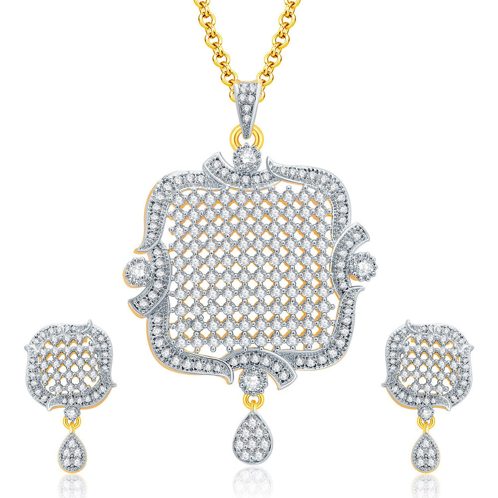 Pissara Modish Gold And Rhodium Plated CZ Pendant Set For Women