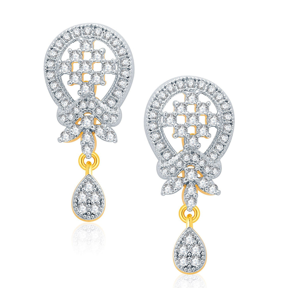 Pissara Harmony Gold And Rhodium Plated CZ Pendant Set For Women-2