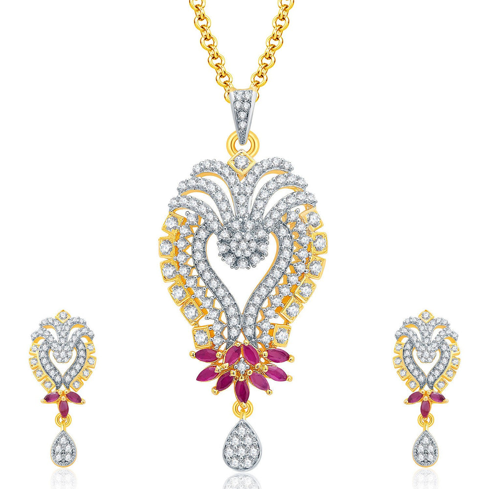 Pissara Glittery Gold And Rhodium Plated Ruby CZ Pendant Set For Women