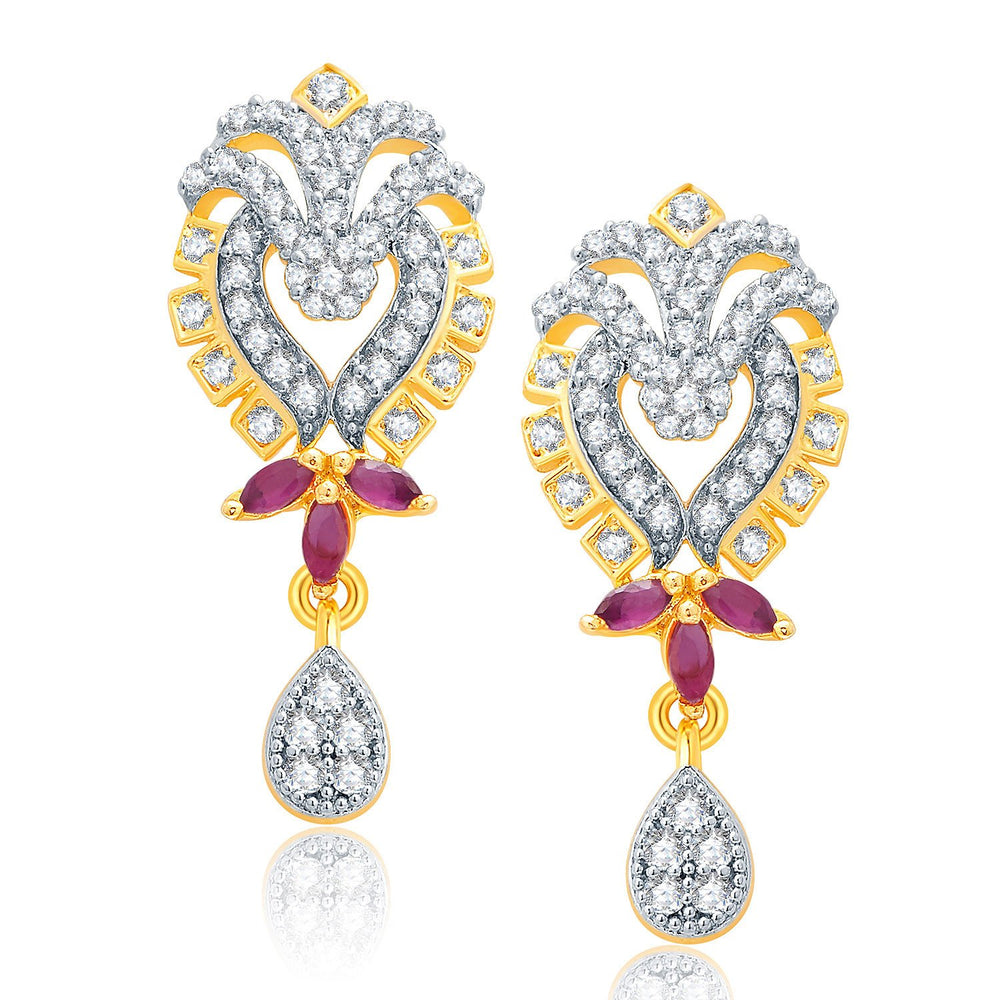 Pissara Glittery Gold And Rhodium Plated Ruby CZ Pendant Set For Women-2