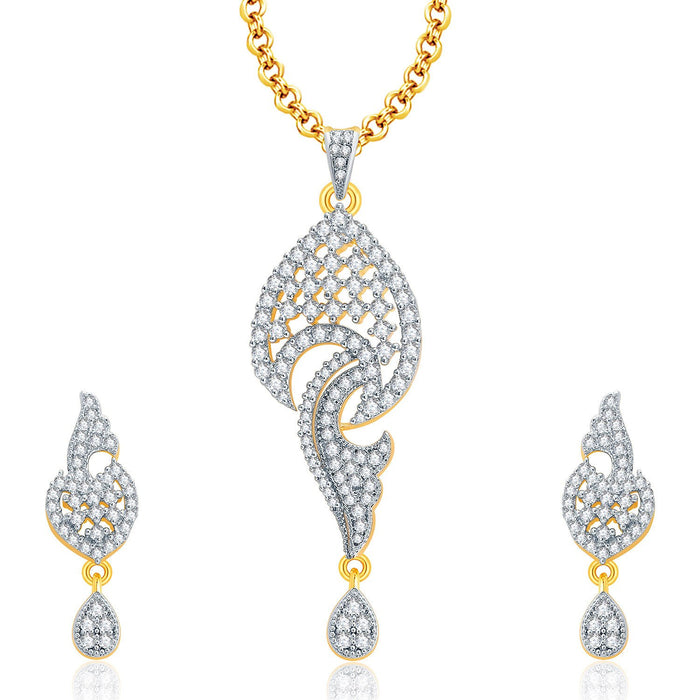Pissara Vivacious Gold And Rhodium Plated CZ Pendant Set For Women