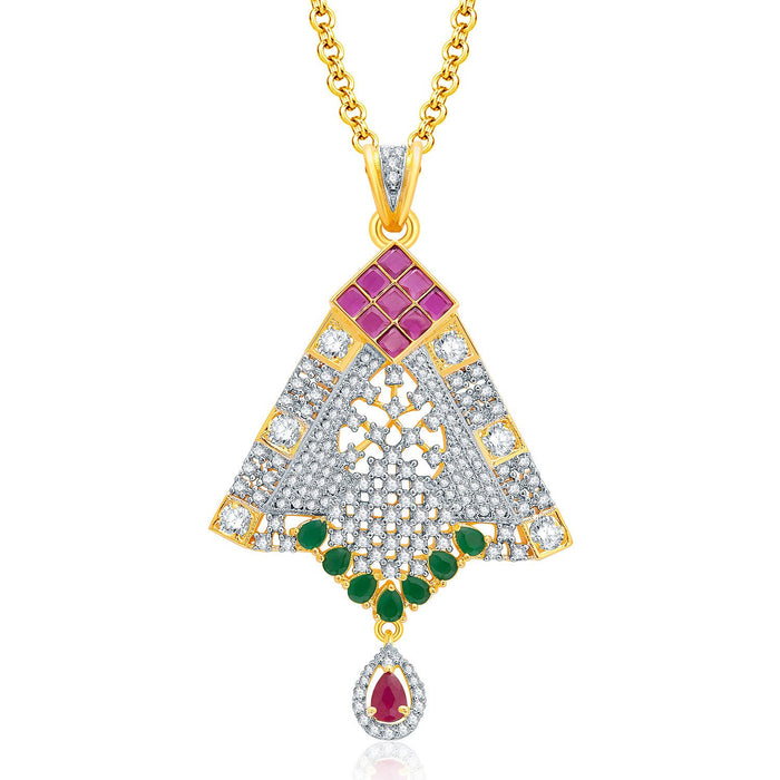 Pissara Feminine Gold And Rhodium Plated Ruby CZ Pendant Set For Women-1