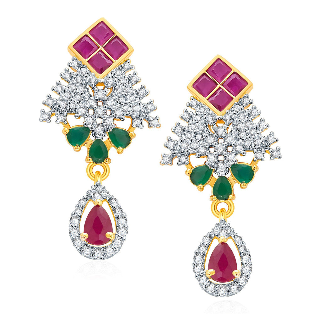 Pissara Feminine Gold And Rhodium Plated Ruby CZ Pendant Set For Women-2