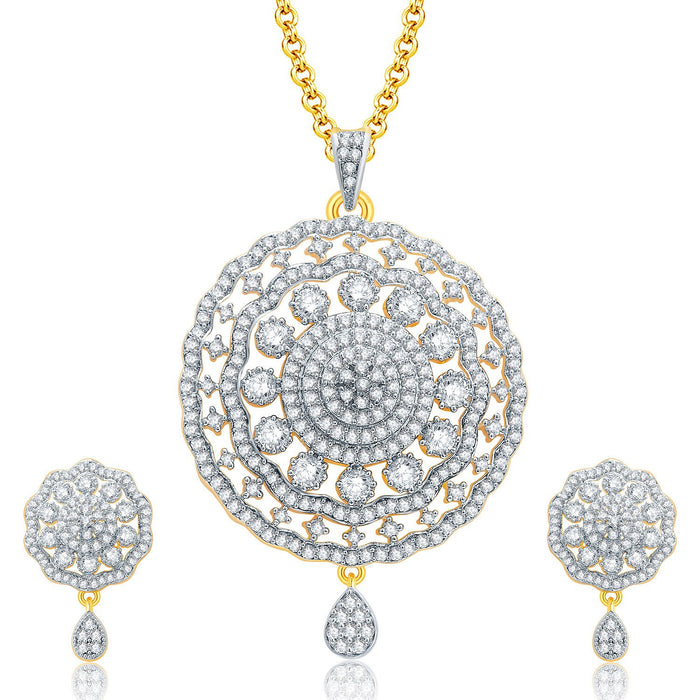 Pissara Fancy Gold And Rhodium Plated CZ Pendant Set For Women