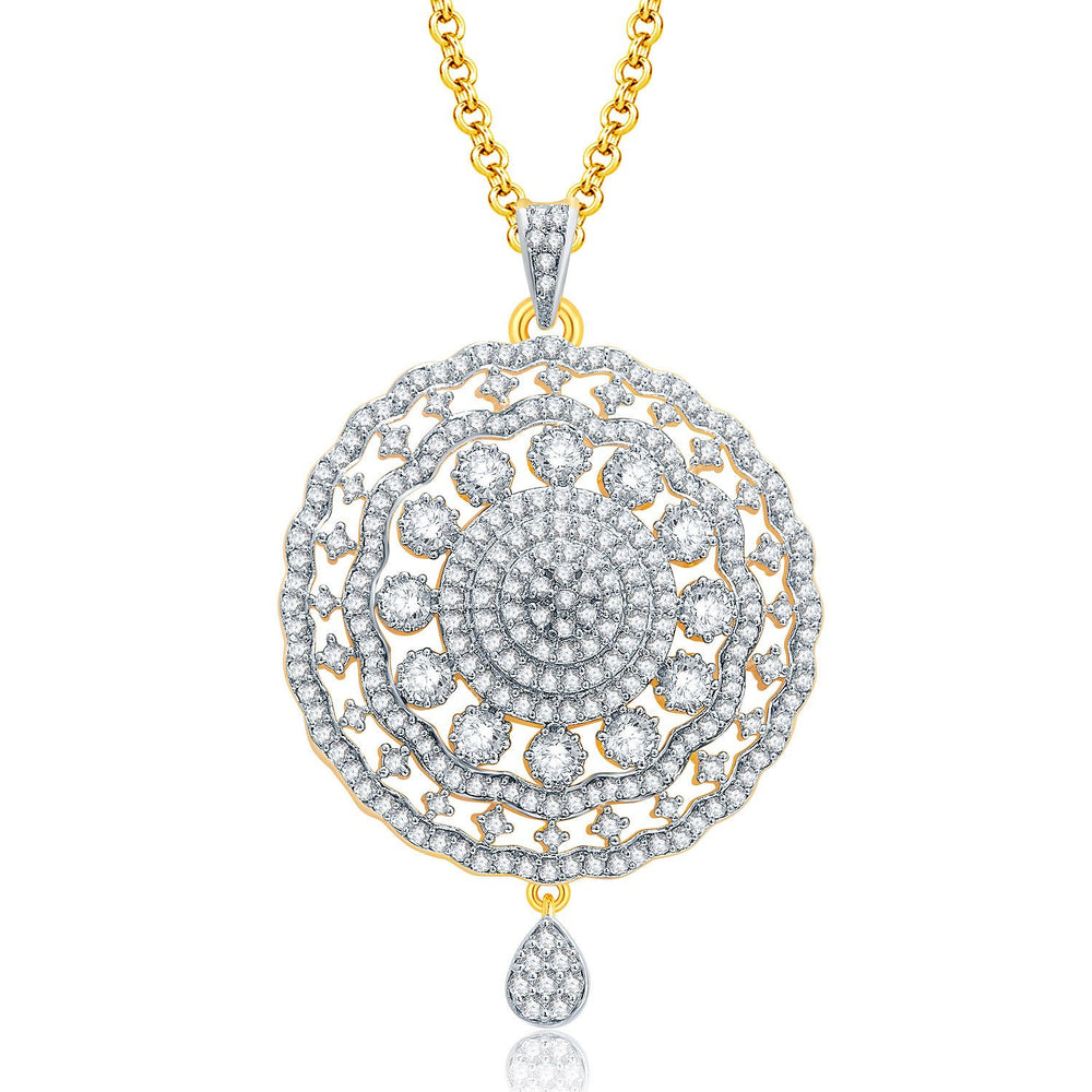 Pissara Fancy Gold And Rhodium Plated CZ Pendant Set For Women-1