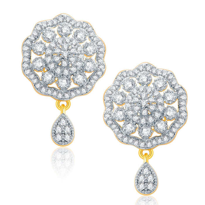 Pissara Fancy Gold And Rhodium Plated CZ Pendant Set For Women-2
