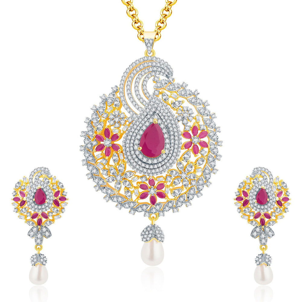 Pissara Vivid Gold And Rhodium Plated Ruby CZ Pendant Set For Women