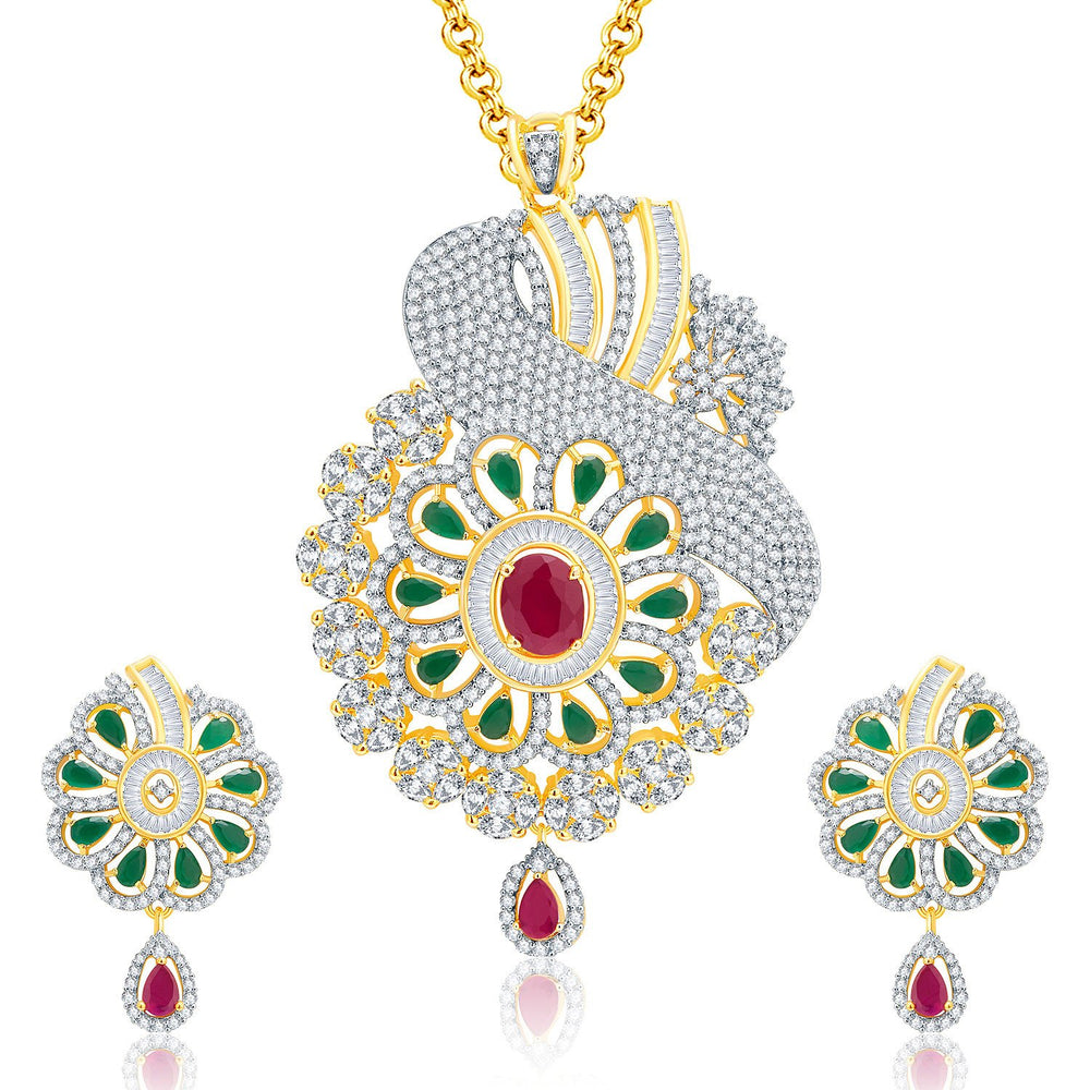 Pissara Remarkable Gold And Rhodium Plated Ruby CZ Pendant Set For Women