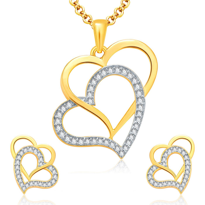 Pissara Ravishing Gold And Rhodium Plated CZ Pendant Set For Women