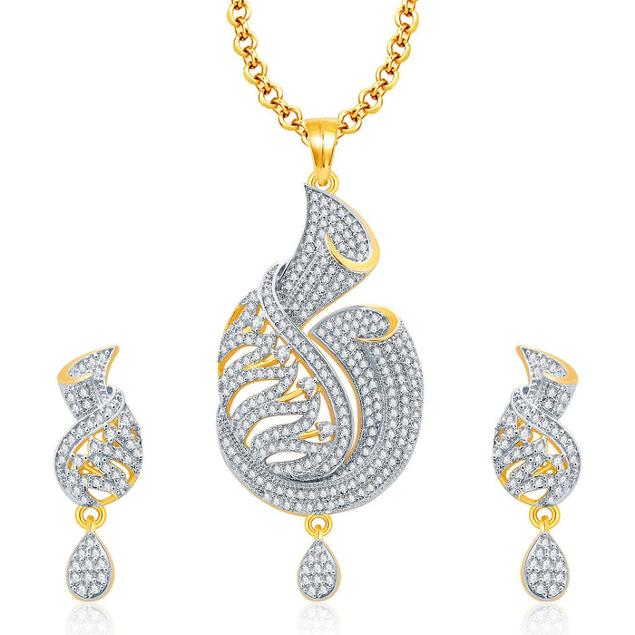 Pissara Graceful Gold And Rhodium Plated CZ Pendant Set For Women