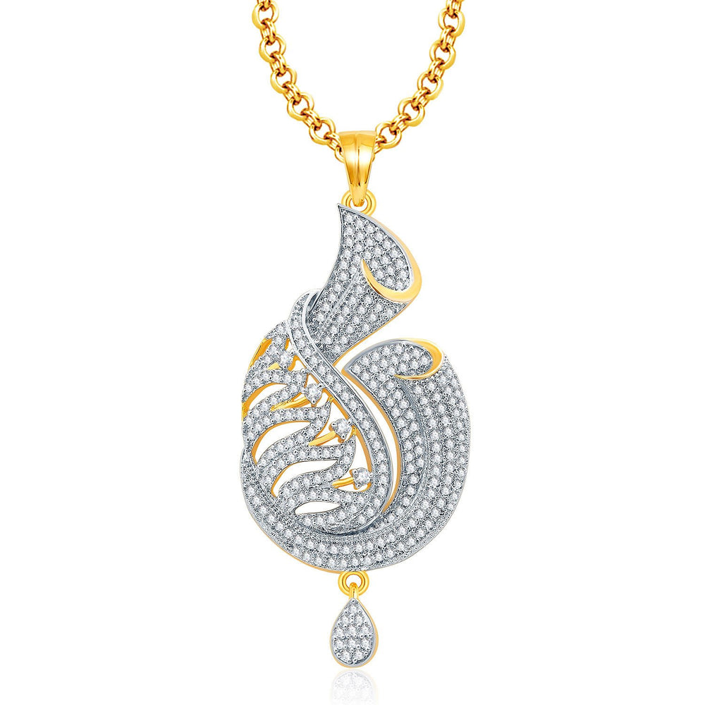 Pissara Graceful Gold And Rhodium Plated CZ Pendant Set For Women-1