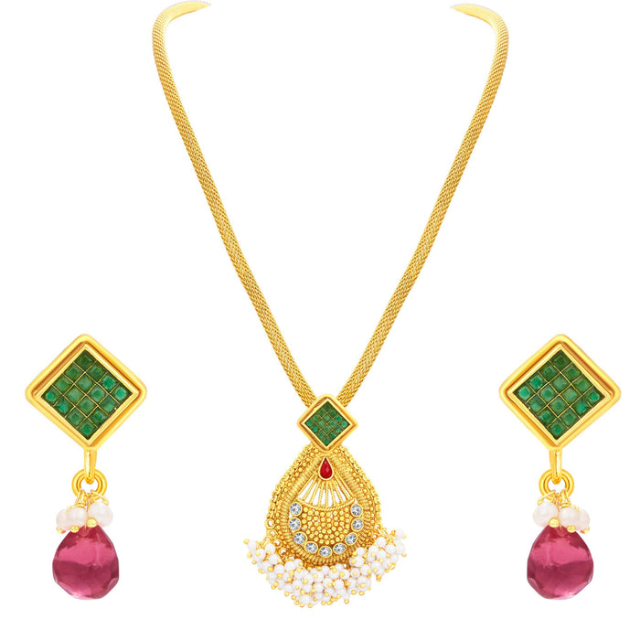 Sukkhi Creative Invisible Setting Gold Plated American Diamond Pendant Set For Women