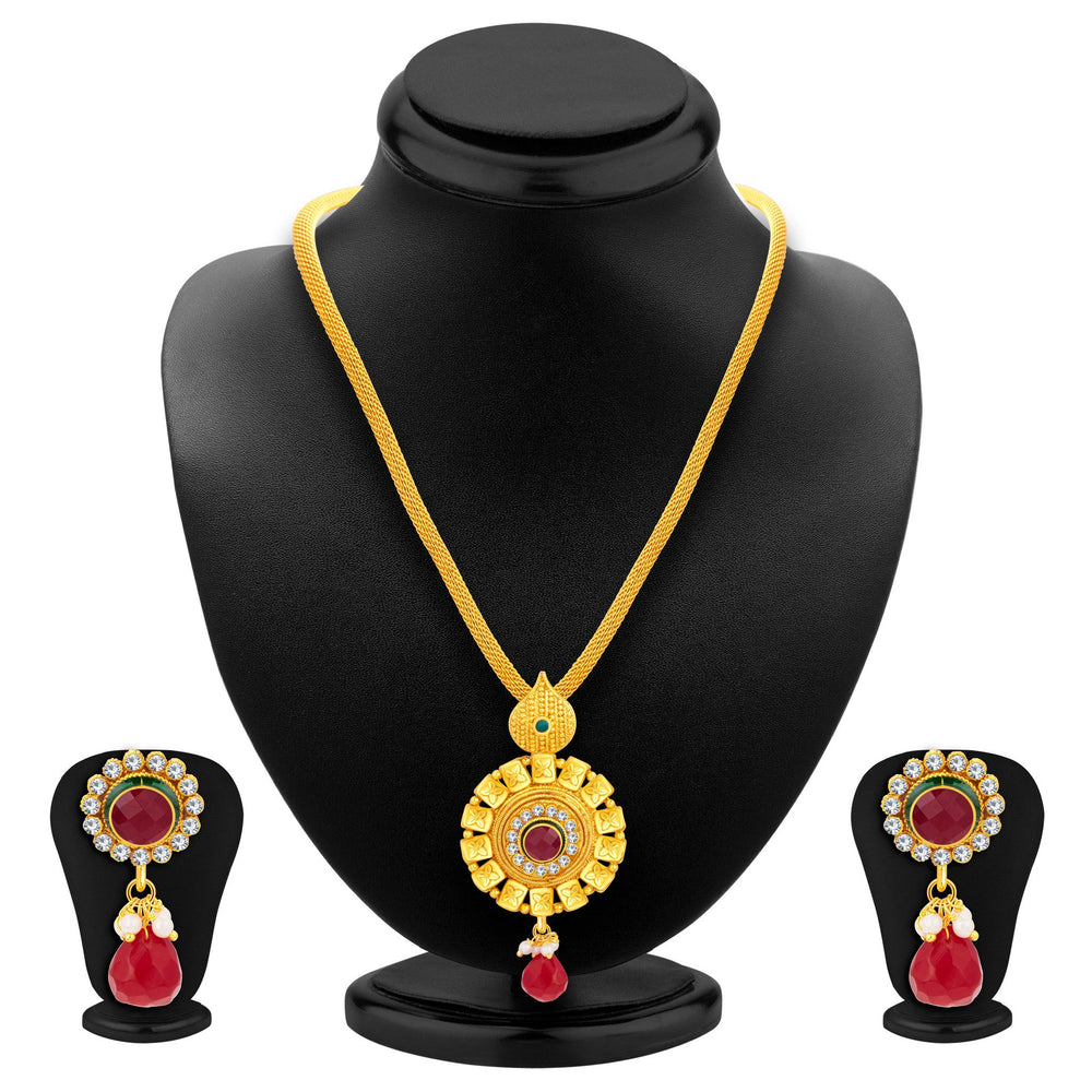 Sukkhi Ethnic Gold Plated Pendant Set For Women-1