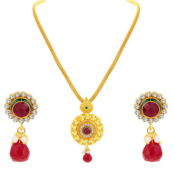Sukkhi Ethnic Gold Plated Pendant Set For Women