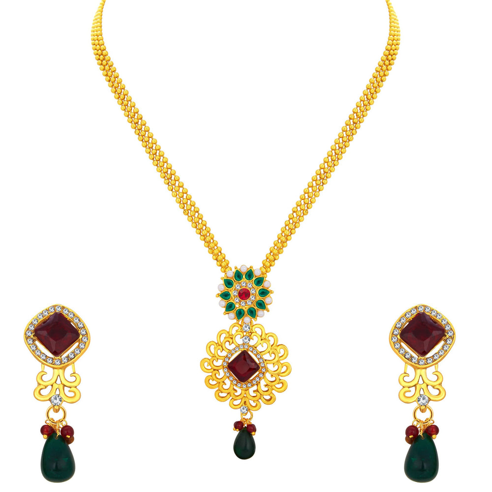Sukkhi Creative Gold Plated Pendant Set For Women