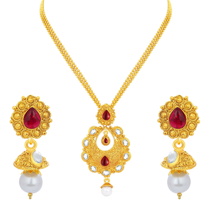 Sukkhi Delightly Gold Plated Pendant Set For Women