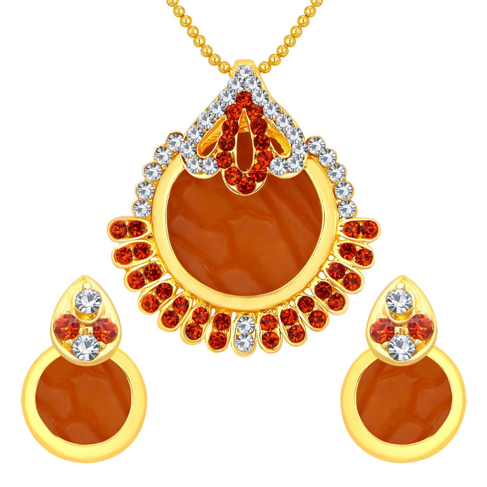Sukkhi Classic Gold Plated AD Pendant Set For Women