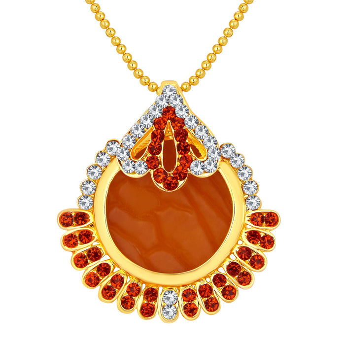 Sukkhi Classic Gold Plated AD Pendant Set For Women-1