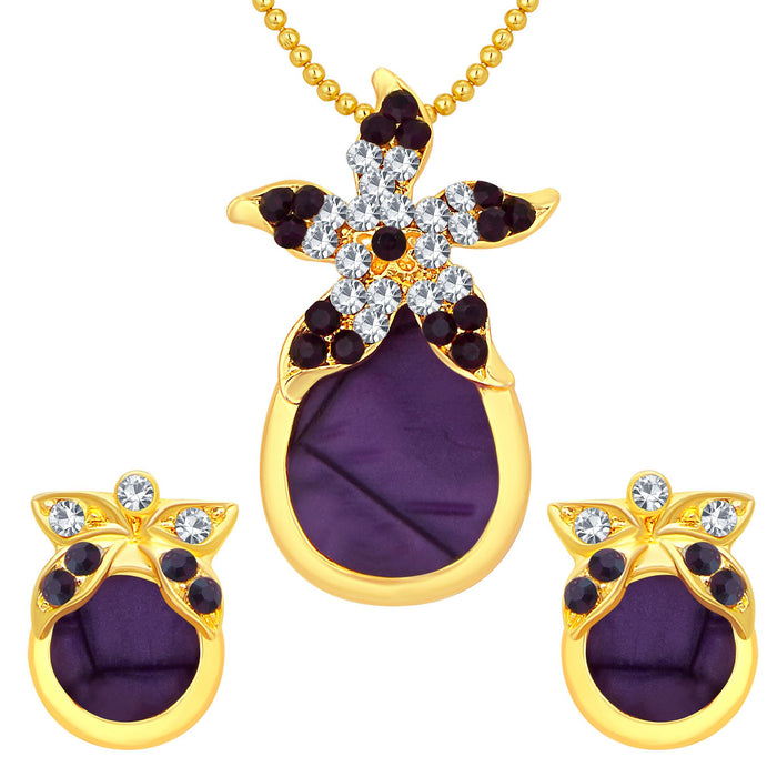 Sukkhi Creative Gold Plated AD Pendant Set For Women