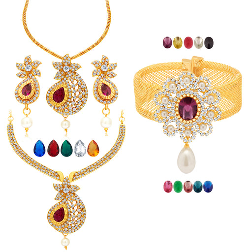 Sukkhi Glamorous Gold Plated Ad Set Of 2 Necklace Set & 1 Kada Detachable To Pendant Set With Chain & Set Of 15 Changeable Stone Combo For Women