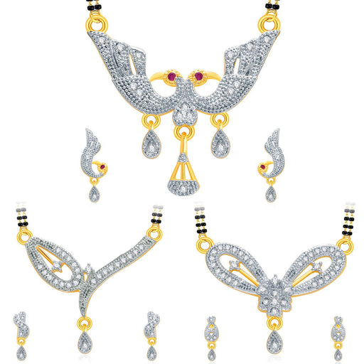 Pissara Sparkling Gold Plated CZ Set of 3 Mangalsutra Set Combo For Women