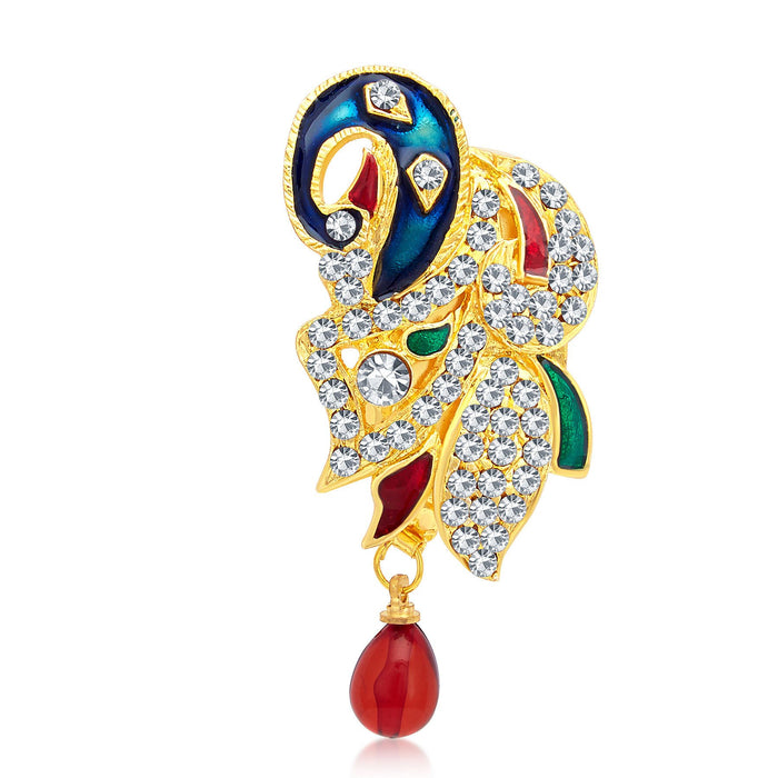 Sukkhi Modern Gold Plated AD Brooch For Women
