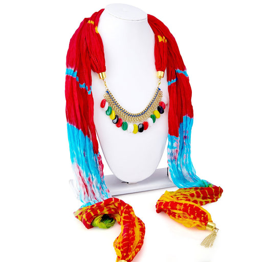 Sukkhi Fascinating Silk Detachable Scarf Necklace With Chain For Women