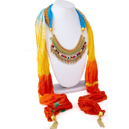 Sukkhi Stunning Silk Detachable Scarf Necklace With Chain For Women
