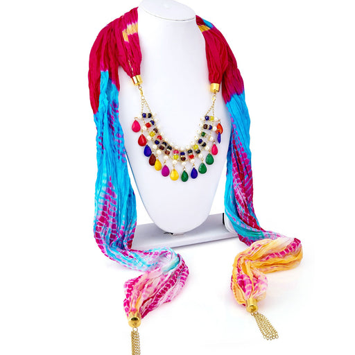 Sukkhi Amazing Silk Detachable Scarf Necklace With Chain For Women