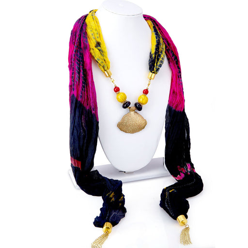 Sukkhi Excellent Silk Detachable Scarf Necklace With Chain For Women