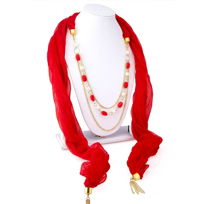 Sukkhi Angelic Chiffon Detachable Scarf Necklace With Chain For Women