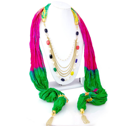 Sukkhi Sparkling Silk Detachable Scarf Necklace With Chain For Women