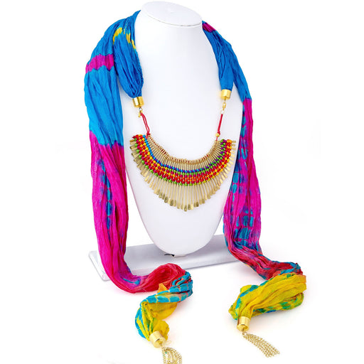 Sukkhi Blossomy Silk Detachable Scarf Necklace With Chain For Women