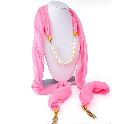 Sukkhi Wavy Chiffon Detachable Scarf Necklace With Chain For Women