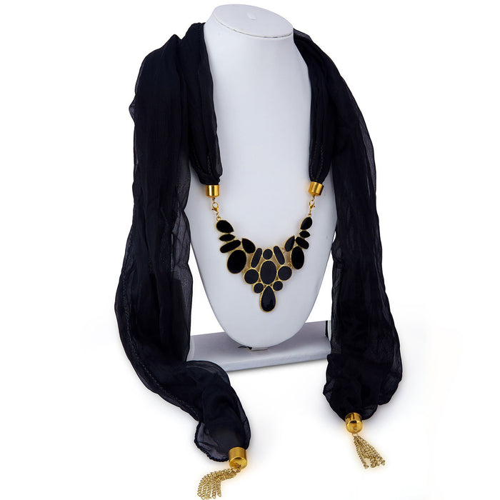 Sukkhi Ethnic Chiffon Detachable Scarf Necklace With Chain For Women