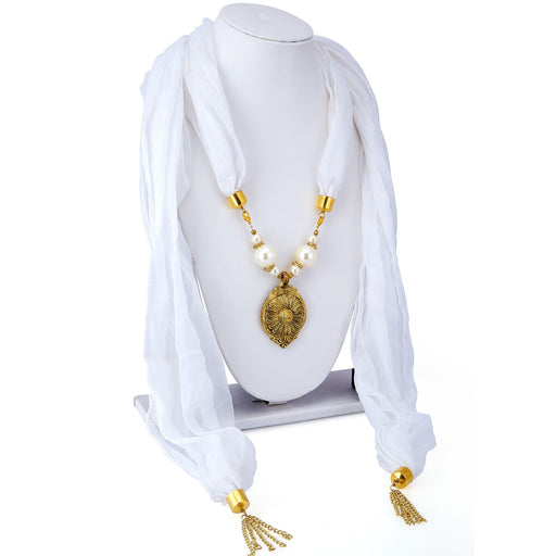 Sukkhi Marquise Chiffon Detachable Scarf Necklace With Chain For Women