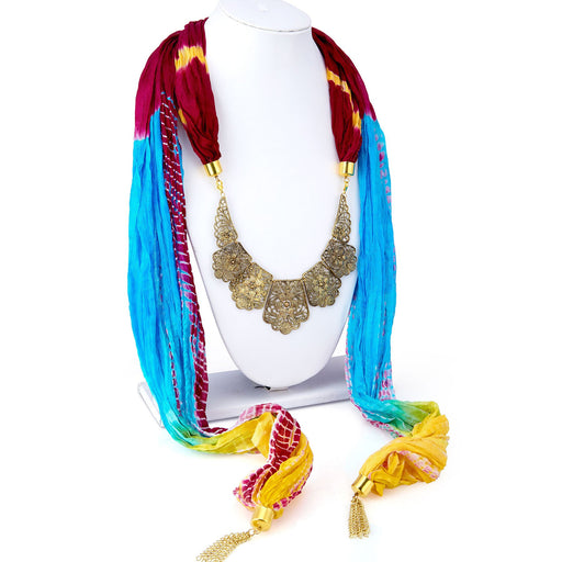 Sukkhi Exquisite Silk Detachable Scarf Necklace With Chain For Women
