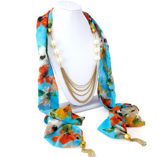 Sukkhi Astonishing Chiffon Detachable Scarf Necklace With Chain For Women