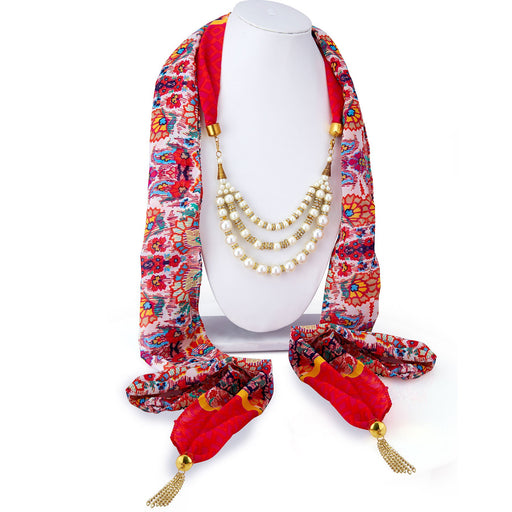 Sukkhi Splendid Chiffon Detachable Scarf Necklace With Chain For Women
