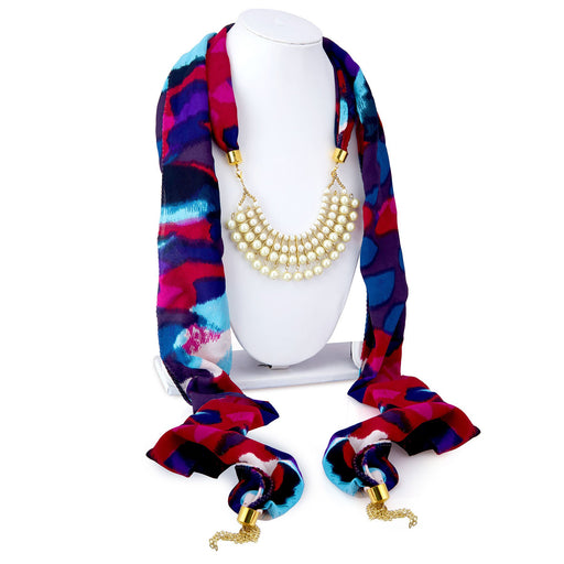 Sukkhi Bewitching Chiffon Detachable Scarf Necklace With Chain For Women